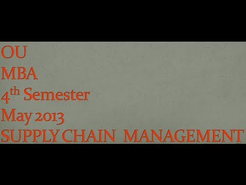 Ou Mba 4th Semester Supply Chain Management May Question Paper