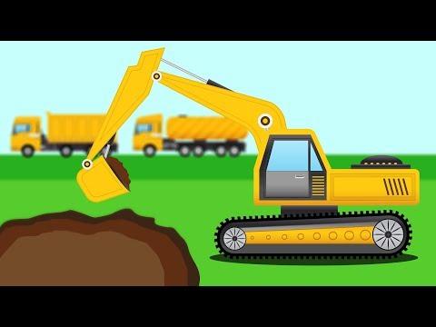 การ์ตูนรถแม็คโครขุดบ่อเลี้ยงปลา รถบรรทุกดิน รถแทรกเตอร์ Cartoon Excavator Dump Truck