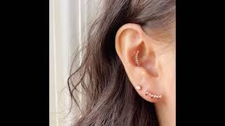 14K 크라운 숏커브 큐빅 피어싱 귀걸이 (미니멀피어싱…