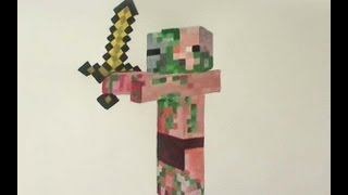 How to Draw/Paint Zombie Pigman - Minecraft