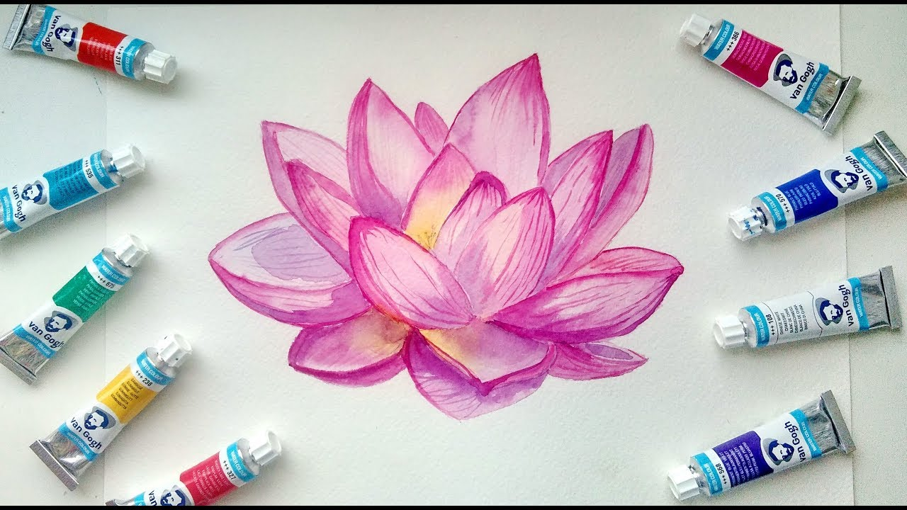 How To Paint Watercolor Lotus Flower Painting Demonstration Youtube