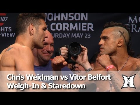 UFC 187: Chris Weidman Accuses Vitor Belfort of Cheating After They Weigh-In (HD)