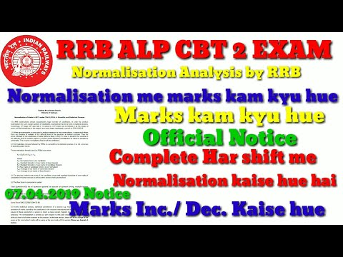 RRB ALP CBT 2 EXAM Result, Notice on Normalisation, Normalisation Analysis by RRB