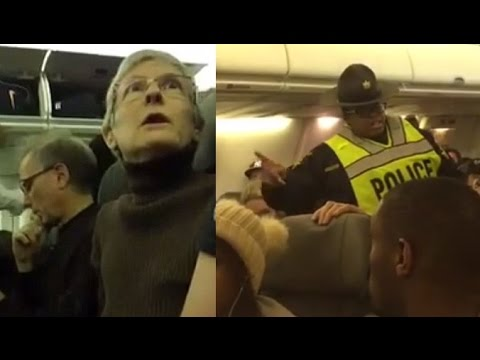 Liberal Woman Harassing a Trump Supporter, Gets Kicked off Plane By Police