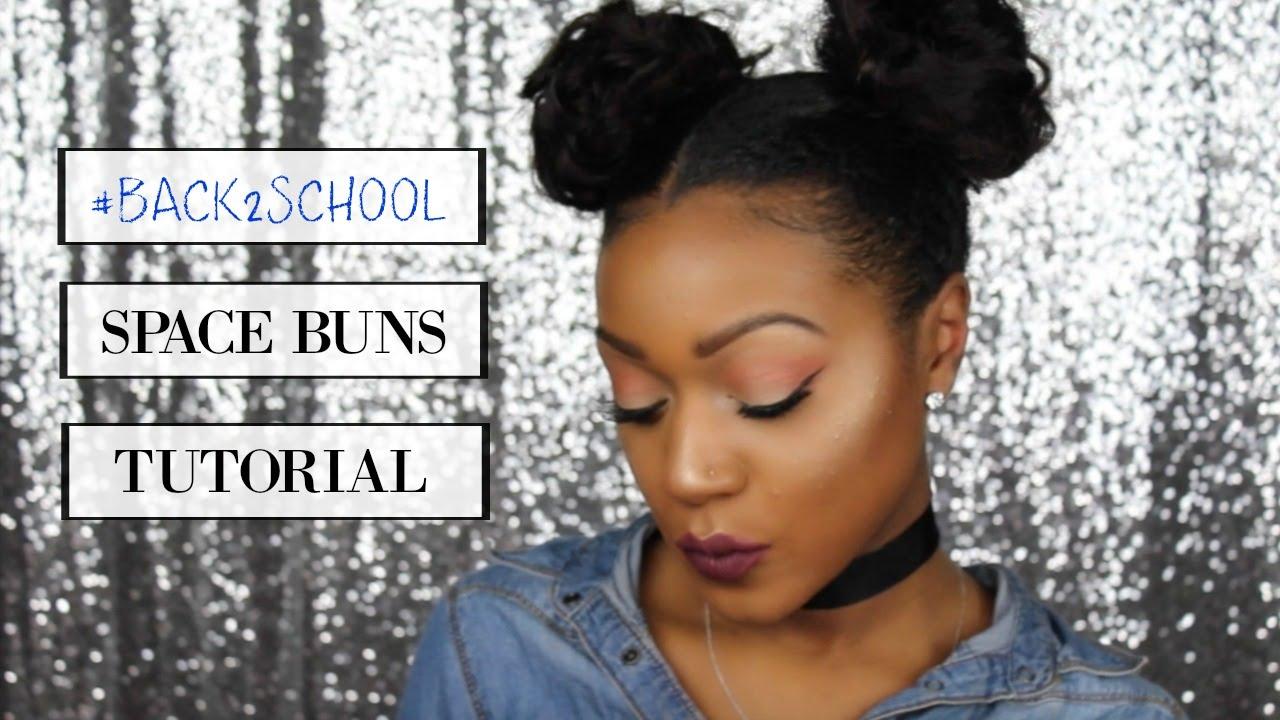 Easy Cute Back To School Hair Double Space Bun Tutorial Youtube