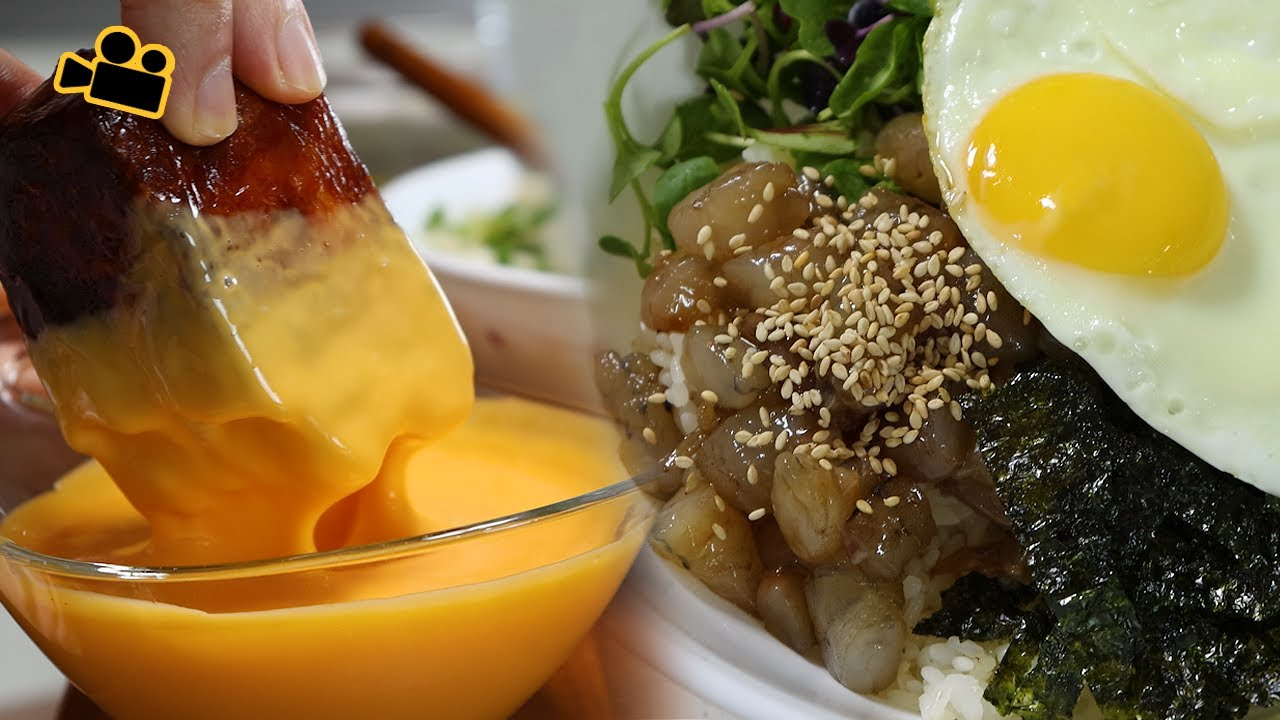 새우비빔밥에 핫통스팸! 마카롱도.. Shrimp Bibimbap & Fire Spam & Macaron ENG Cinema Mukbang 시네마먹방