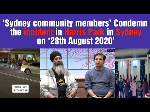 Sydney community members condemn the incident in Harris Park in Sydney on 28th August 2020