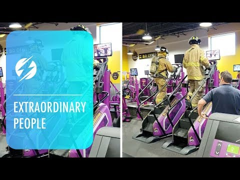 Fully Geared Firefighters Walk 100 Floors On Stairmaster for