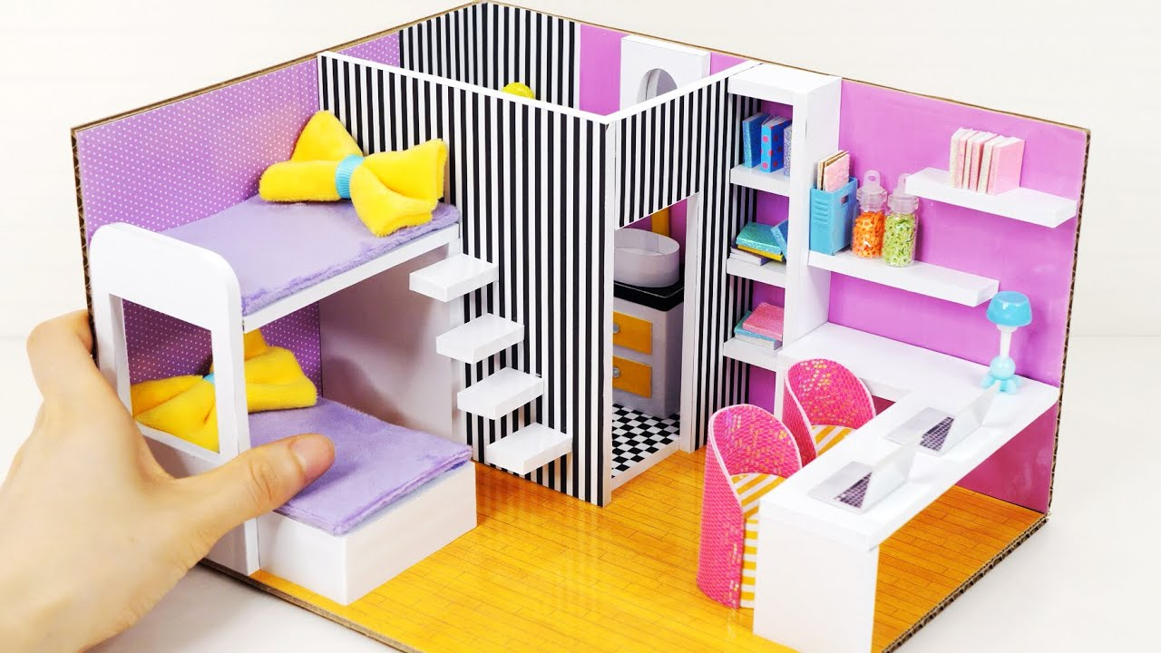 DIY Miniature Cardboard House #48 PURPLE ROOM with Two Beds