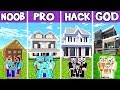 Minecraft: FAMILY MODERN SUBURBAN HOUSE BUILD CHALLENGE - NOOB vs PRO vs HACKER vs GOD in Minecraft