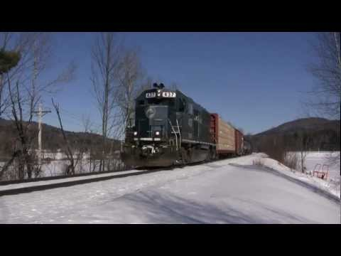 New England Central Freight Trains in Frigid Vermont Winter