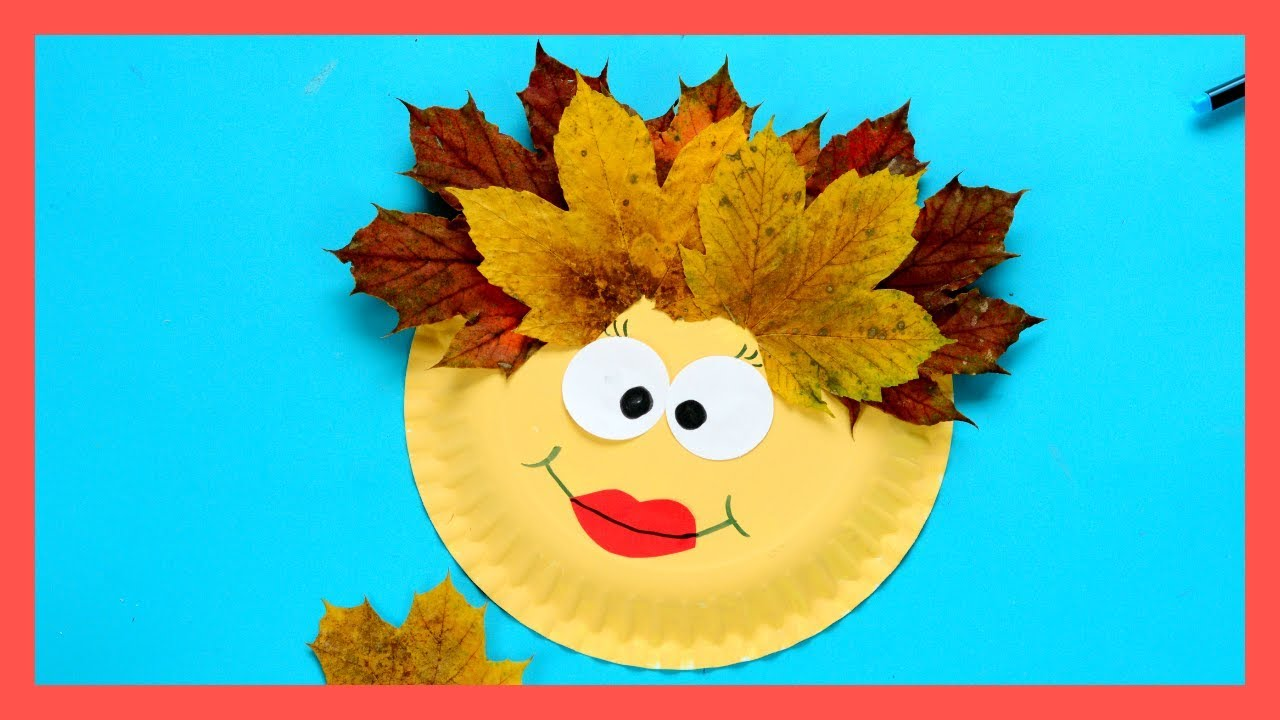 Leaf Face Paper Plate Fall Crafts For Kids Youtube