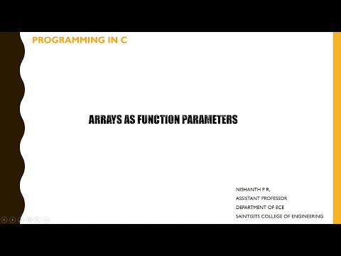 Arrays As Function Arguments In C