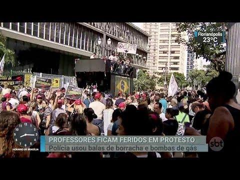Protesto de professores da rede municipal de SP termina em tumulto | SBT Brasil (14/03/18)