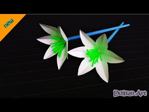 DIY   How to Make Lily paper Flowers   Very Easy paper craft idea