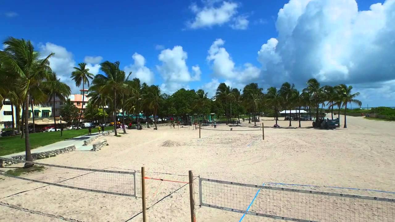 Aerial Miami Beach Volleyball Courts