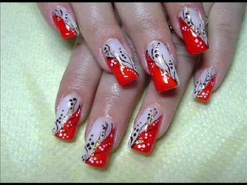 Christmas Nail Art Ideas: Red Christmas Nails 2009  YouTube