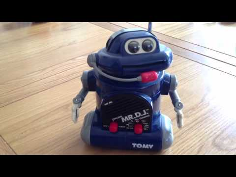 Tomy toy 80s robot Mr DJ reads the news