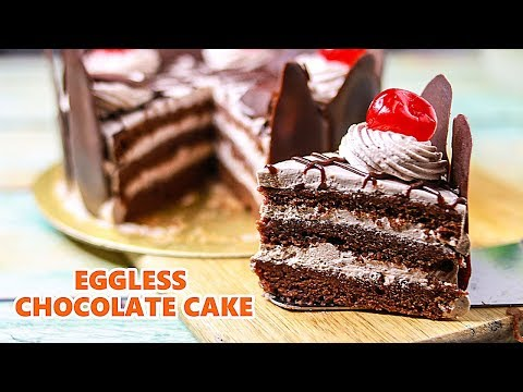 Eggless Chocolate Cake Without Oven | Eggless Chocolate Birthday Cake