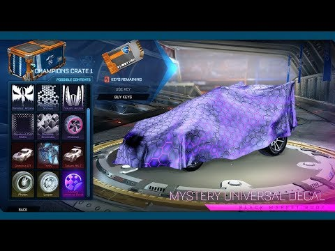 100 Crate Openings!! Rocket League | Certified Mystery Universal Decal in 1st Crate?!