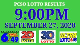 PCSO Lotto Result Today 9PM September 27, 2020, ez2, 2d, swertres, 3d, 6/49, 6/58