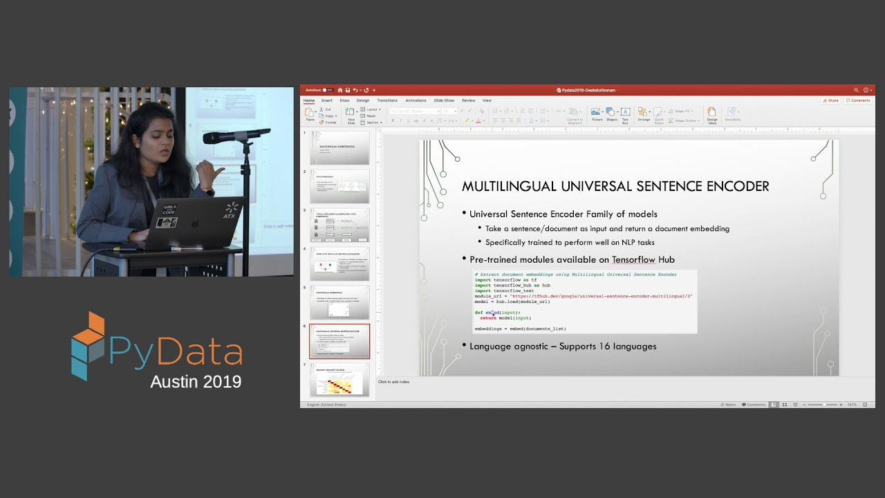 Image from Deeksha Yennam: Multilingual embeddings to scale NLP models to multiple... | PyData Austin 2019