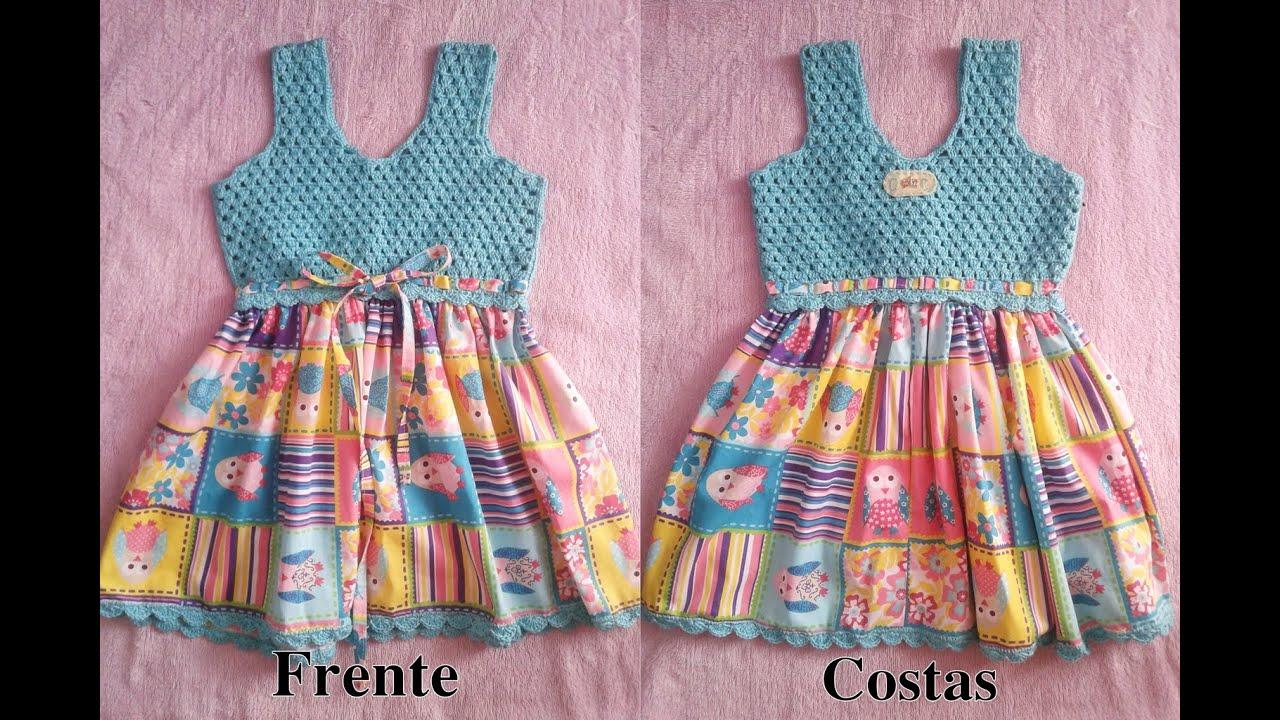 56f924c2e Como fazer um Vestido em tecido e crochê para Bebe - YouTube
