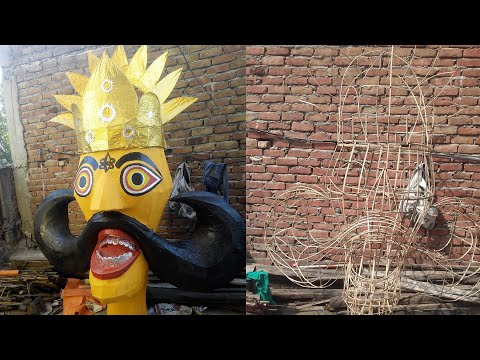 How to make Ravana at Home, Ravana Effigy Face Making | Step by Step guide