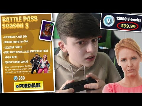 Kid buys $100 of vBucks for season 3 Battle Pass...