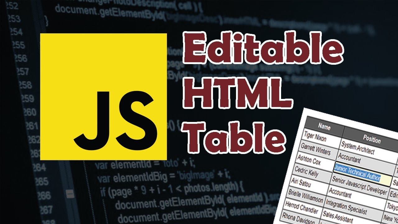 Javascript Tutorial: Make HTML Table content editable NO Jquery