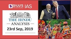 'The Hindu' Analysis for 23rd September, 2019 (Current Affairs for UPSC/IAS)