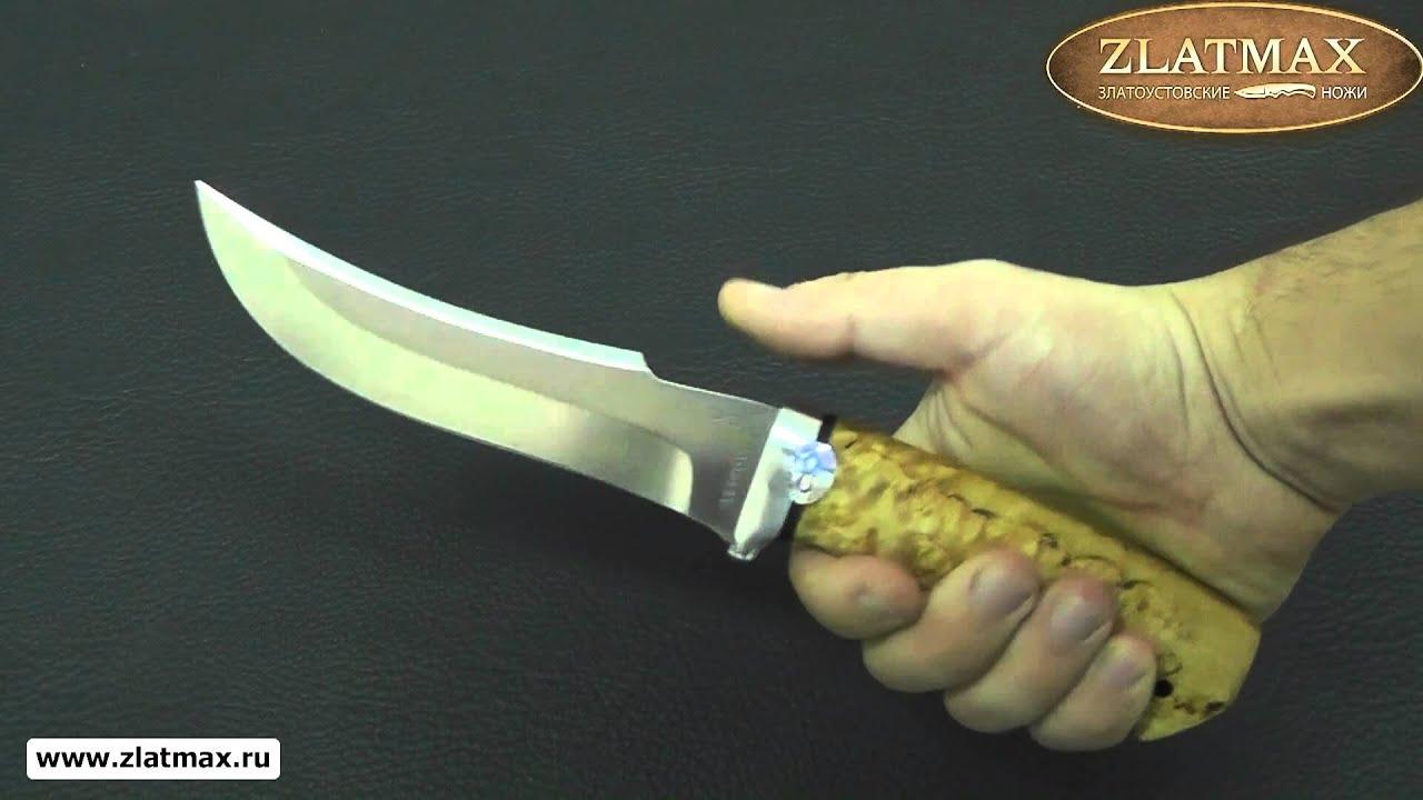 Видео Нож Клык (100Х13М, Карельская берёза, Алюминий)