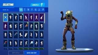 *NEW* Deep Sea SKIN SHOWCASE WITH ALL FORTNITE DANCES & NEW EMOTES! (Fortnite Season 7 Skin)