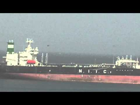UAE Fujaira Port OIL TANKER AND PIPELINES INTO THE SEA