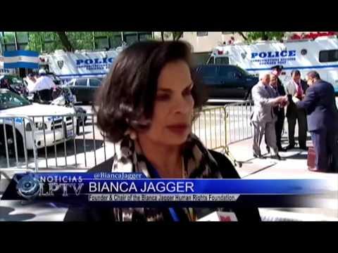 Bianca Jagger desde ONU contra canal