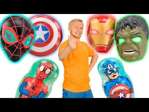 Матрешки и Маски с Сюрпризом и Минимен! Человек Паук, Халк, Железный Человек, Капитан Америка