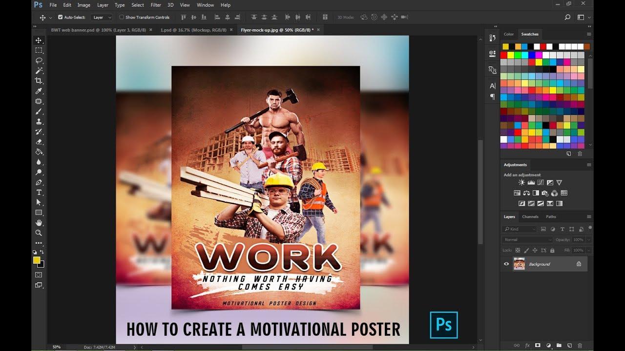 Motivational Poster Design tutorial in Photoshop CC
