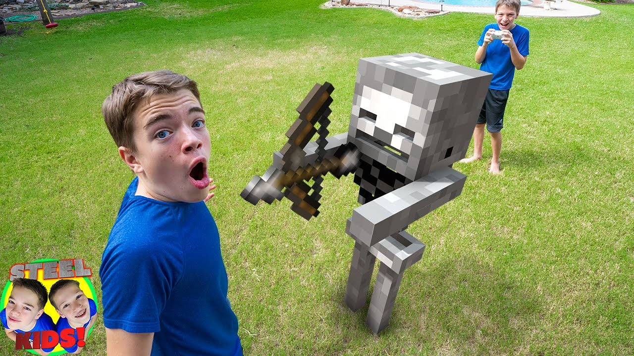 Shawn Controls Minecraft Skeleton Mob for The Day! Minecraft in Real Life!   Steel Kids