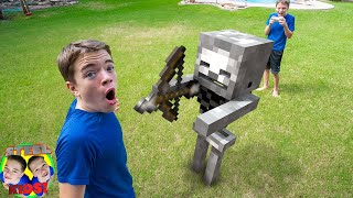 Shawn Controls Minecraft Skeleton Mob For The Day! Minecraft In Real Life! | Steel Kids