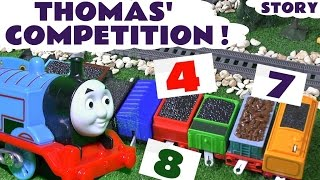 thomas and friends competition for paw patrol pups   counting and play doh toy train guessing