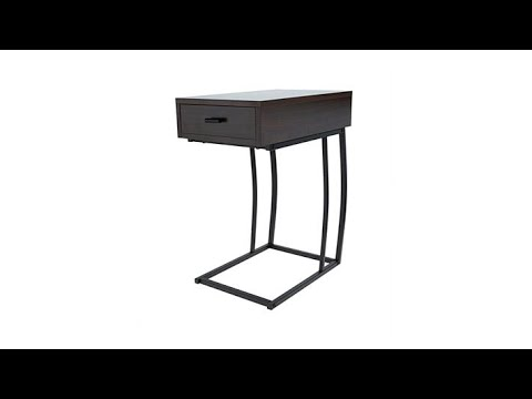 SEI Porten Side Table with USB Port - YouTube