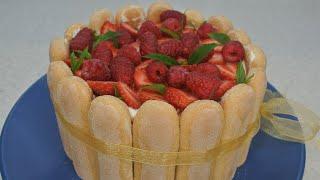 Торт без выпечки за 10 минут –рецепт ТИРАМИСУ с клубникой – самый красивый летний десерт