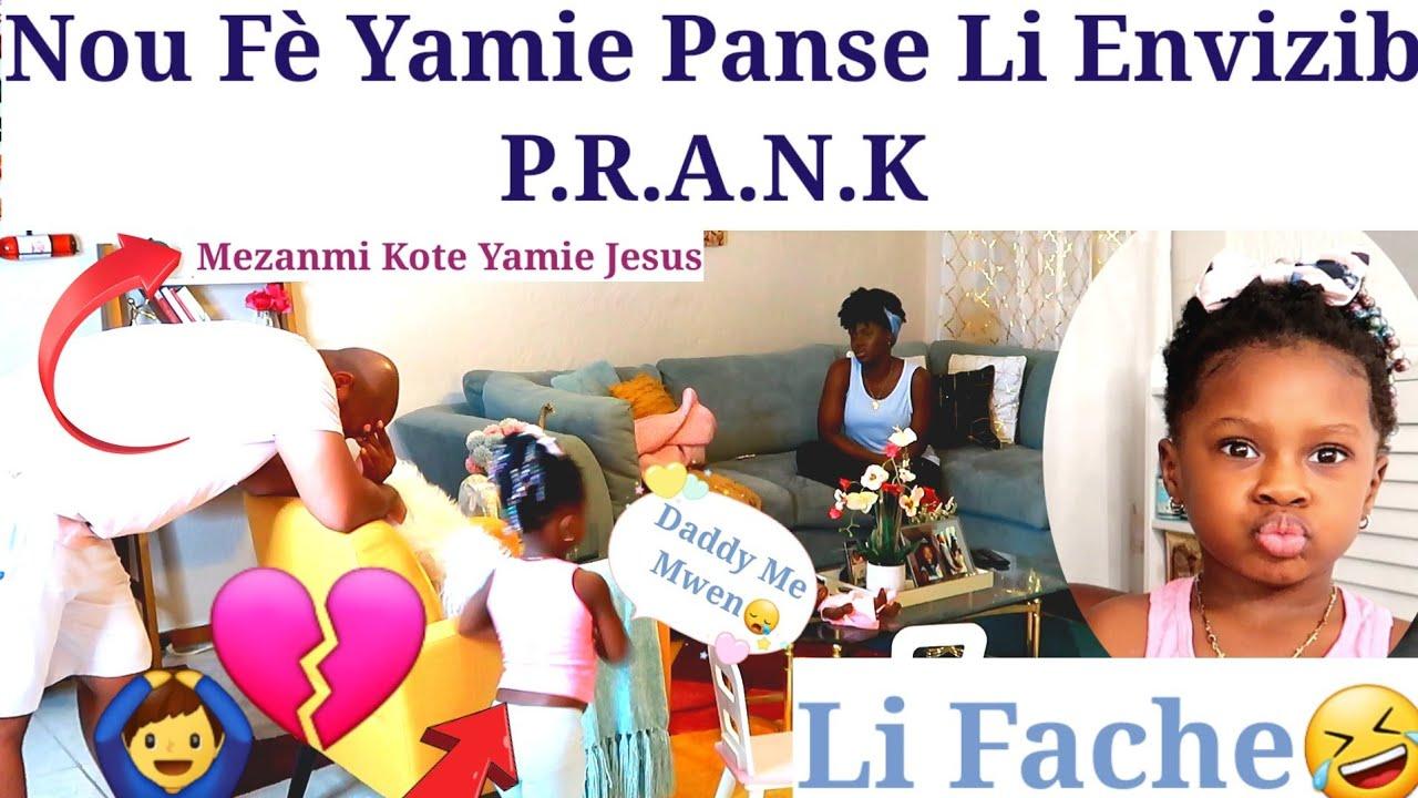Nou Fè Yamie Panse Li Envizib P.R.A.N.K Nap Chèchel Nou Pa Ka Wèl😅😅 #prankon3yearsold