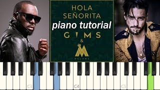 Hola Señorita (piano cover tutorial Synthesia) - Maître Gims ft. Maluma