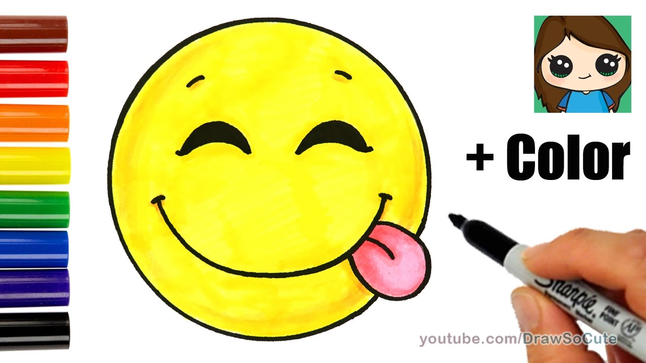 How To Draw A Silly Happy Face Emoji With Coloring Easy Youtube