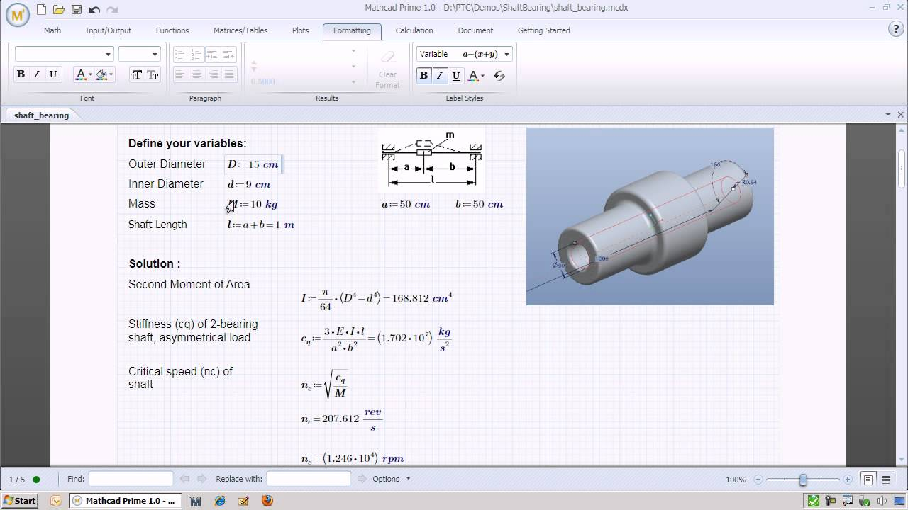 Calculating The Critical Speed Of A Shaft Bearing Youtube