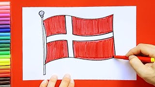 How to draw and color the Flag of Denmark