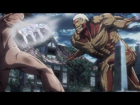 ايرين ضد راينر  القتال كامل مترجم HD هجوم العمالقة الجزء الثالث الحلقة14
