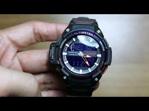 030fc3bbe3b Casio outgear SGW-450H-2B TWIN SENSOR ANALOG - YouTube