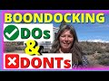 Dry Camping and Boondocking Do's and Don'ts